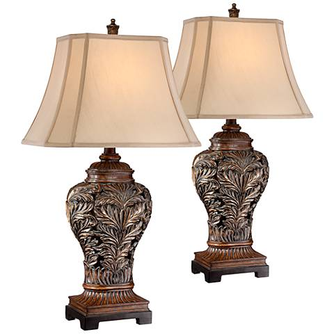 Bronze Openwork Vase Table Lamp Set of 2