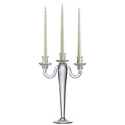 Brie Clear Glass Three Light Taper Candelabra Candle Holder  v0821 on houzz home design modern html