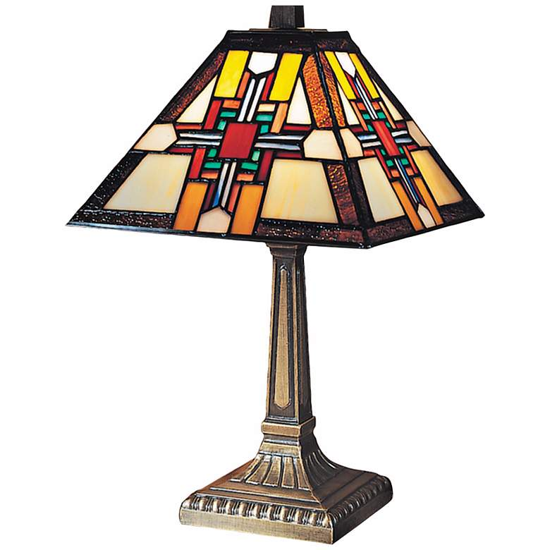 """Morning Star 15""""H Antique Bronze Dale Tiffany Accent Lamp"""