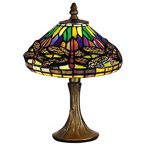 """Dragonfly 11"""" high Antique Brass Dale Tiffany Accent Lamp"""
