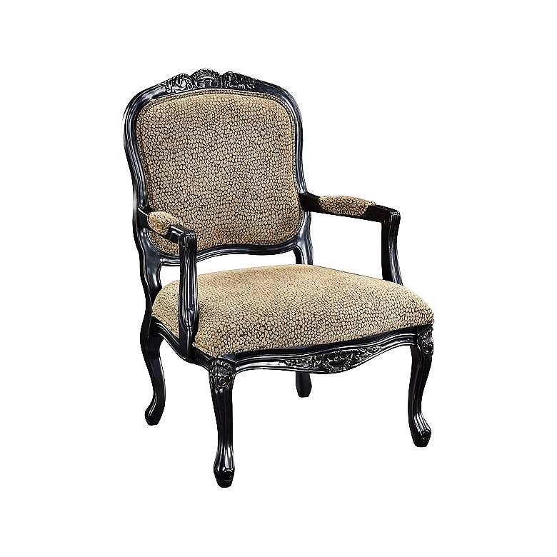 Ellis Beige Reptile Print Bannister Black Accent Chair