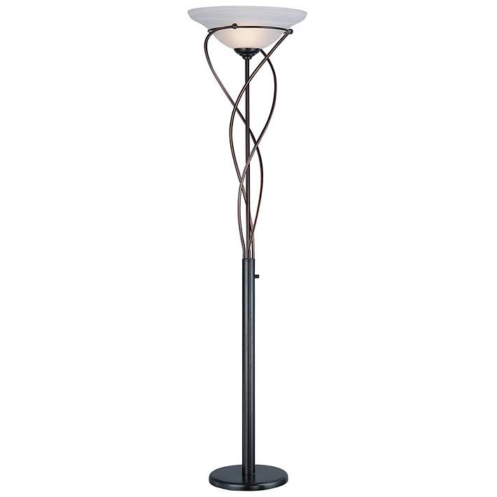 Lite Source Majesty Bronze Torchiere, Torchiere Floor Lamp With Shelves