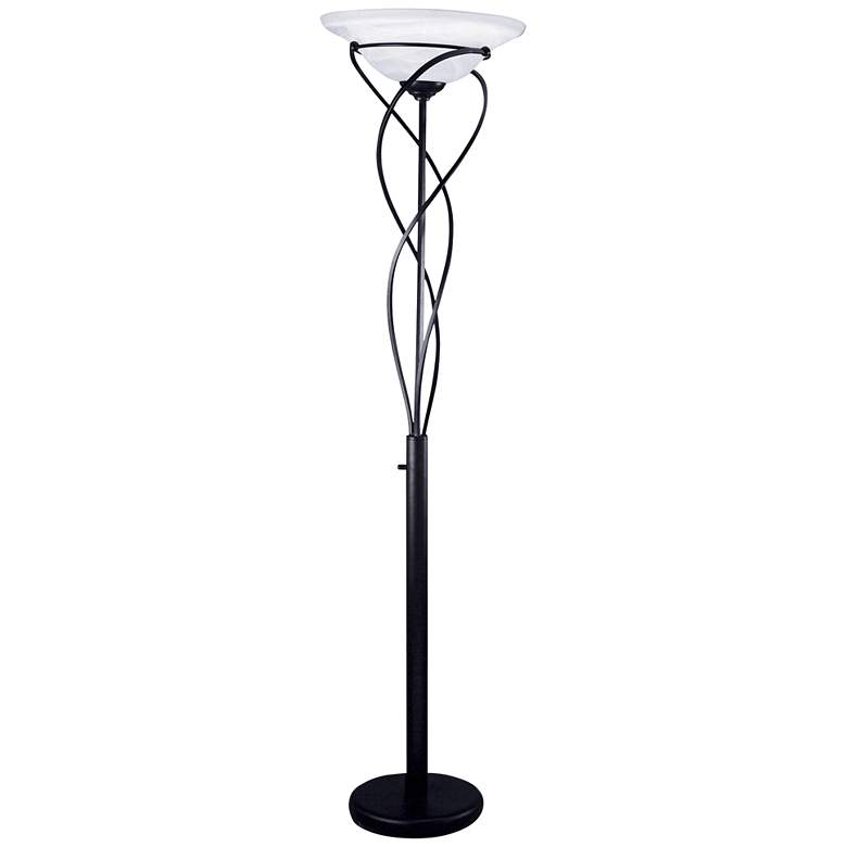 Lite Source Majesty Black Torchiere Floor Lamp