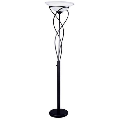 Lite Source Majesty Black Torchiere Floor Lamp