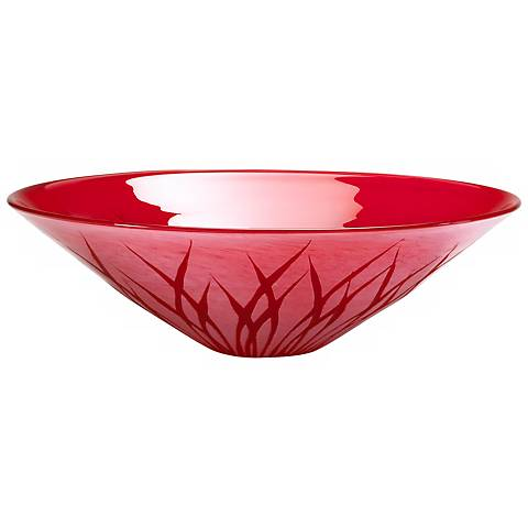 Small Rouge Red Glass Serving Bowl  With Etched Detailing