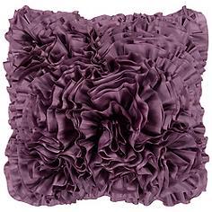 "Surya 18"" Square Purple Plum Ruffled Accent Pillow"