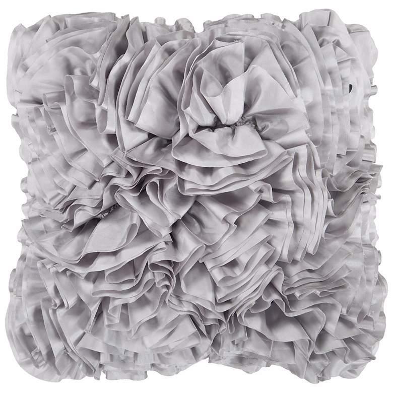 "Surya 18"" Square Flint Gray Ruffled Accent Pillow"