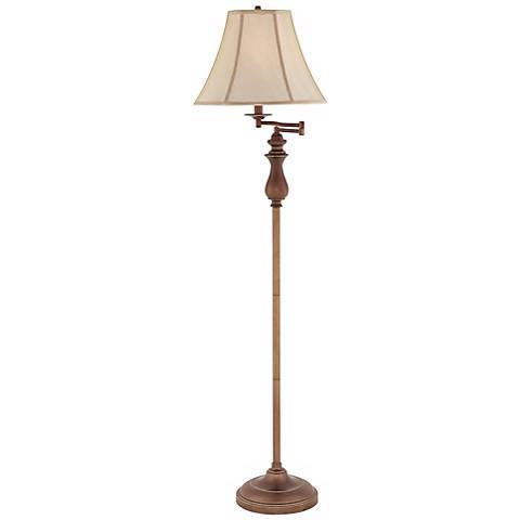 Quoizel Stockton Palladian Bronze Swing Arm Floor Lamp