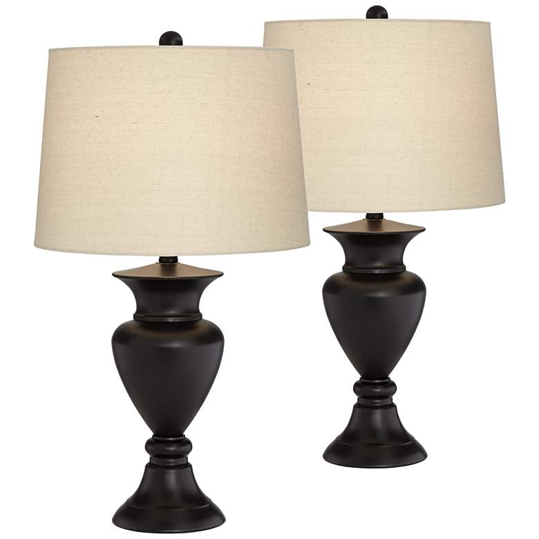 Regency Hill Metal Urn Bronze Table Lamps Set