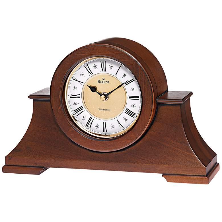 """Bulova Cambria Antique Walnut 12"""" Wide Chime Table Clock"""