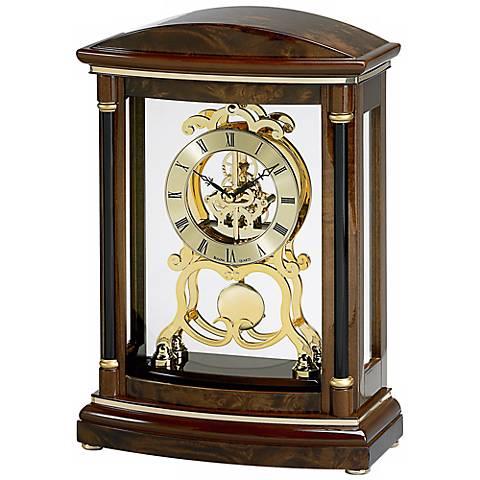 "Valeria Burl Veneer 14"" High Bulova Mantel Clock"