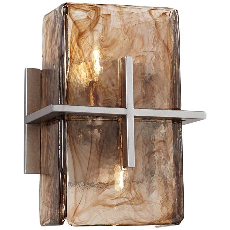 """Bronze Gold Art Glass 8"""" Wide 1-Light Wall Sconce"""