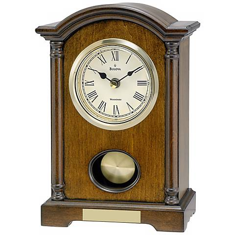 "Dalton 9 1/2"" High Westminster Melody Bulova Table Clock"