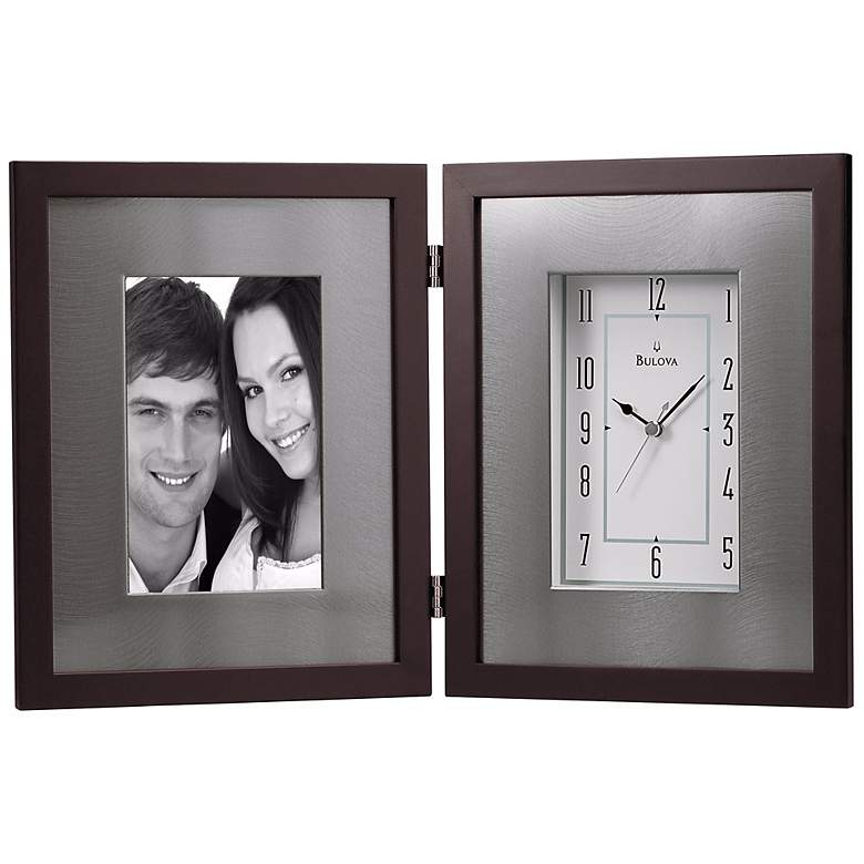"""Winfield Espresso Brown 15"""" Wide Picture Frame Table Clock"""