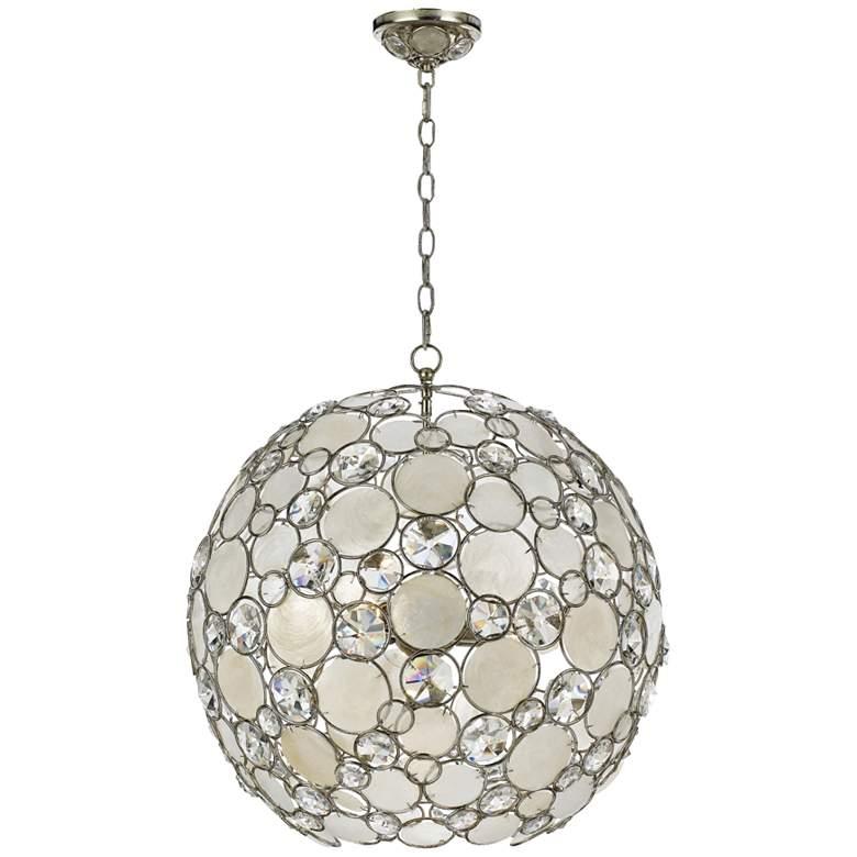 "Crystorama Palla 22"" Wide Antique Silver Orb Pendant Light"