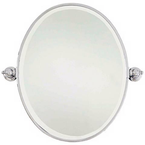 """Minka Chrome 24"""" x 24 1/2"""" Oval Bathroom Wall Mirror"""