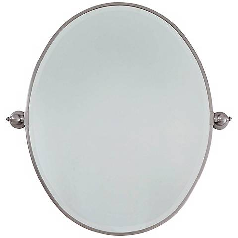 """Feiss Brushed Nickel Plated Steel 25"""" Wide Oval Wall Mirror"""