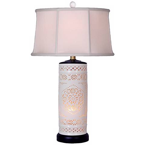 Pierced Bone China with Drum Shade Night Light Table Lamp