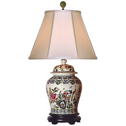 Famille Rose Temple Jar Porcelain Table Lamp