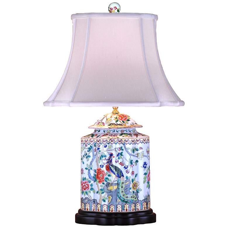 Famille Rose Scalloped Tea Jar Porcelain Table Lamp