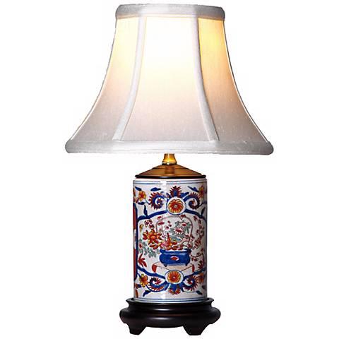 "Imari 15"" High Mini Vase Porcelain Accent Table Lamp"