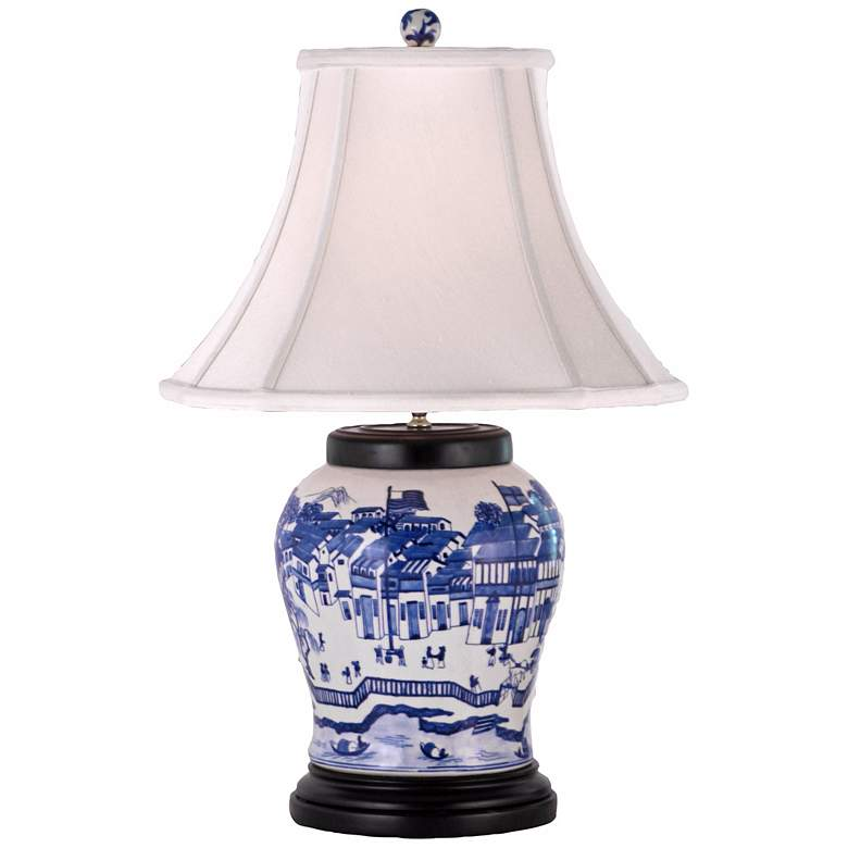 Blue and White Hang Porcelain Wine Urn Table Lamp