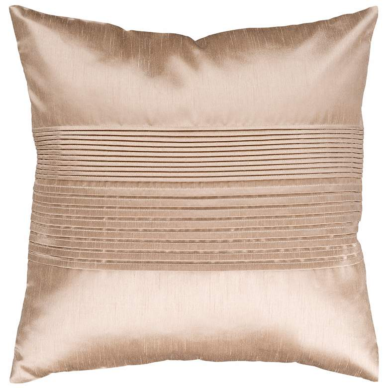 """Surya Center Pleated 18"""" Champagne Throw Pillow"""