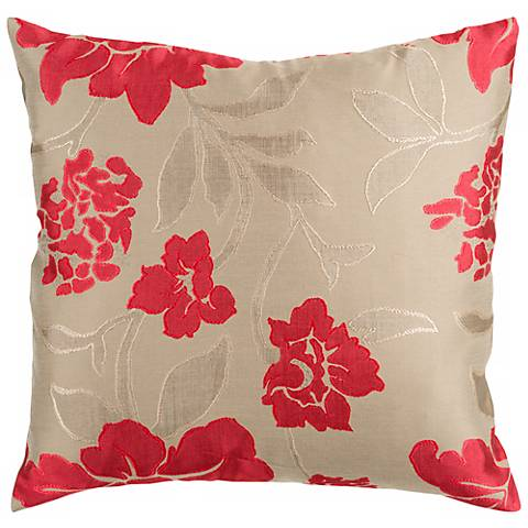 """Surya 18"""" Square Floral Red and Beige Throw Pillow"""