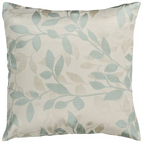 "Surya 18"" Square Ivory Blue Haze Throw Pillow"