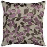 """Surya 18"""" Square Oyster Gray and Plum Throw Pillow"""