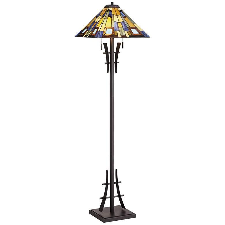 Robert Louis Tiffany Jewel Tone Art Glass Floor Lamp