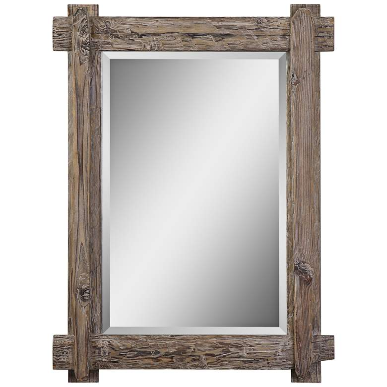 "Claudio Walnut 29 1/4"" x 39 1/4"" Wood Wall Mirror"
