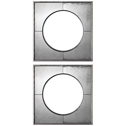 "Savio Silver Leaf 15 3/4"" Square Convex Wall Mirror Set of 2"