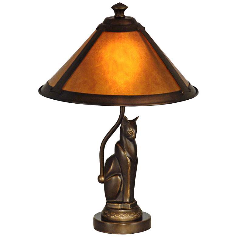 Dale Tiffany Bronze Cat Accent Lamp with Ginger Mica Shade