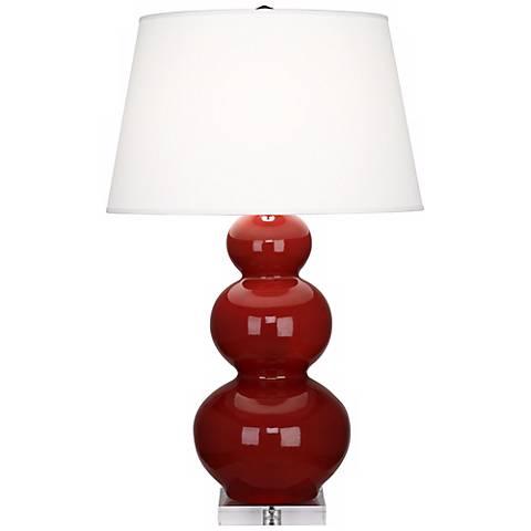 Robert Abbey Oxblood Red Triple Gourd Ceramic Buffet Lamp