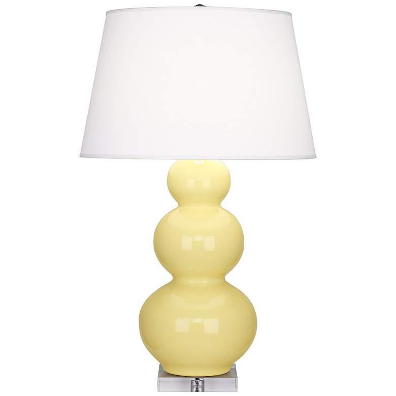 Robert Abbey Butter Yellow Triple Gourd Ceramic Buffet Lamp