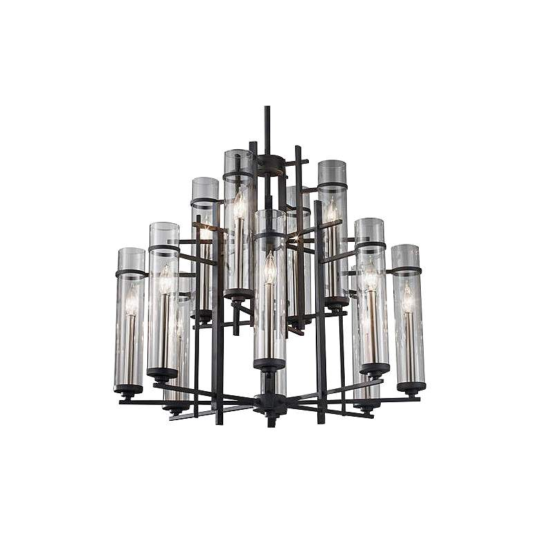 """Feiss Ethan 30"""" Wide Antique Forged Iron 2-Tier 12-Light Chandelier"""