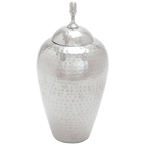 Bayshore Matte Silver Tall Metal Jar with Lid
