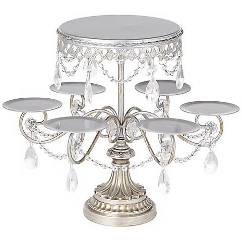 "Elise Antique Silver-Crystal 12"" High Cake and Cupcake Stand"