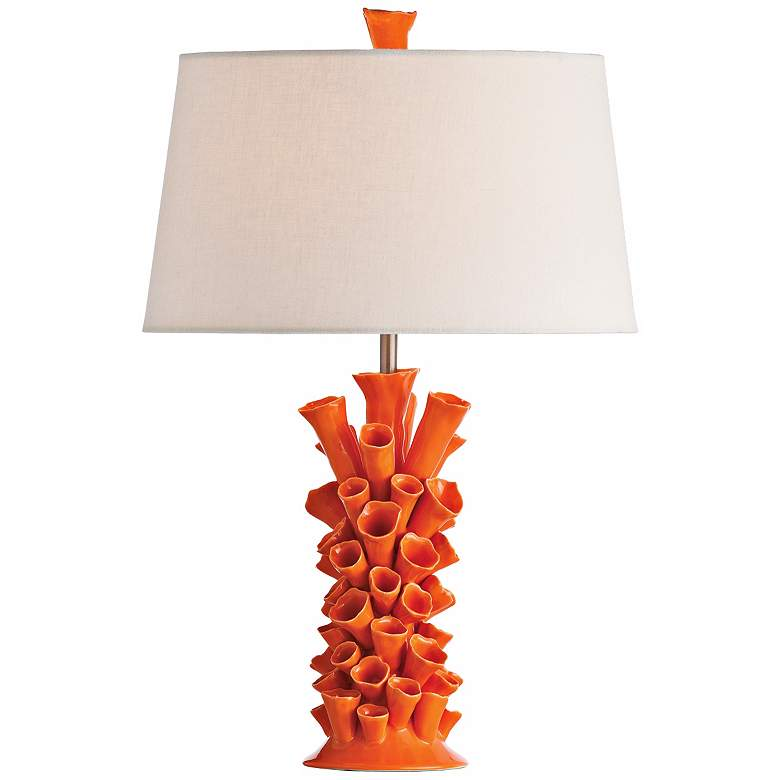 Arteriors Home Cassidy Coral Orange Porcelain Table Lamp