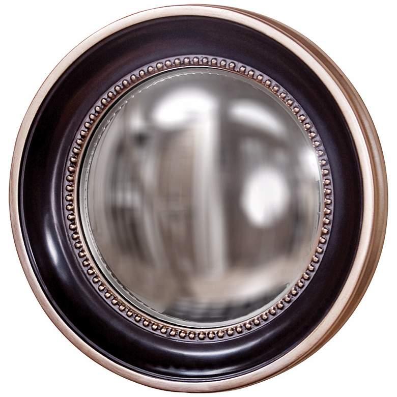 "Patterson Black and Silver Trim 16"" Convex Round Wall Mirror"