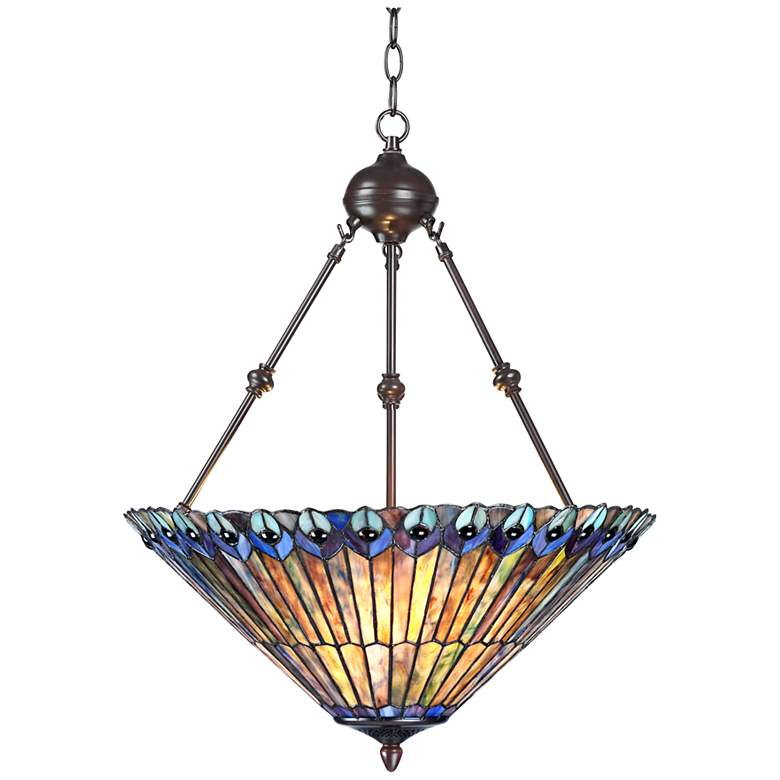 "Peacock Glass 3-Light 20"" Wide Tiffany Style Pendant Light"
