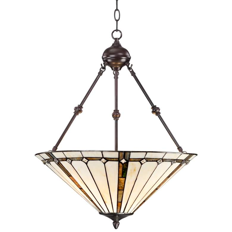"Tiffany Style 3-Light Ivory 24"" High Glass Pendant Light"