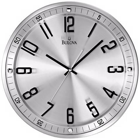 "Bulova Silhouette 13"" High Stainless Steel Wall Clock"