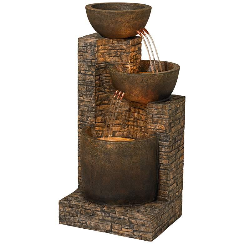 "Mason 35"" High Faux Stone LED Floor Fountain"