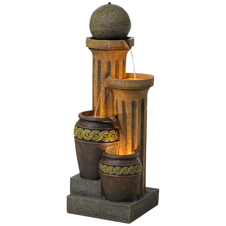 """Sphere Jugs and Column 50"""" High Rustic Fountain with Light"""