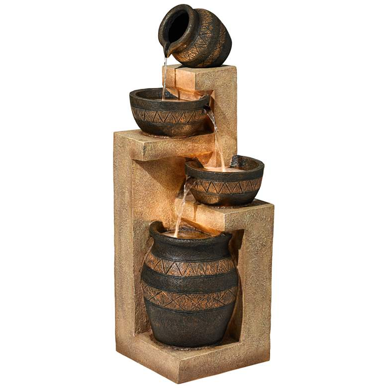 """Stoneware Bowl and Jar Indoor-Outdoor 46""""H LED Fountain"""