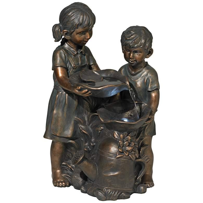 """Boy and Girl Indoor-Outdoor Bronze 23"""" High Fountain"""