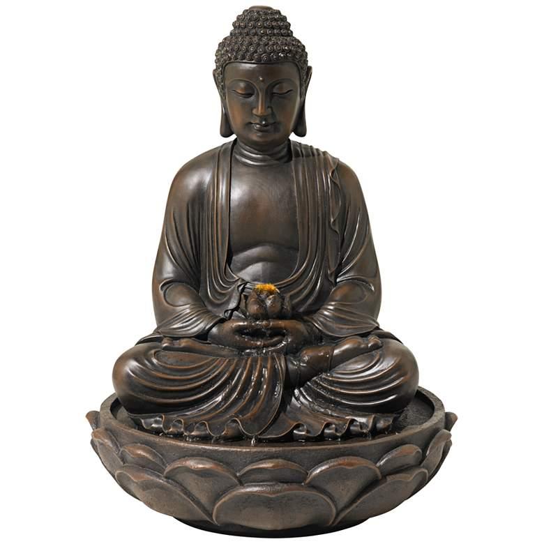 "Meditating 27 1/2"" High Bronze Seated Buddha Fountain"