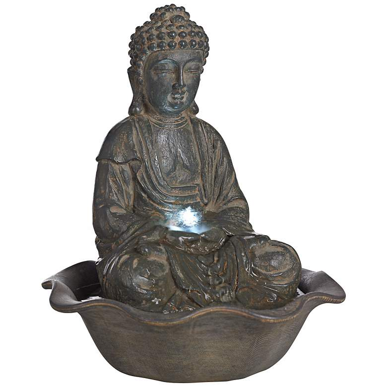 "Harmony 12"" High Seated Buddha Water Fountain with LED Light"
